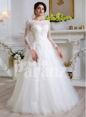 Women's beautiful full sleeve floor length tulle skirt wedding gown in white