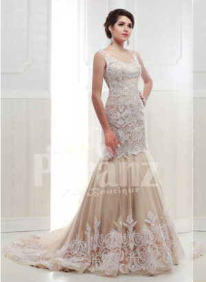 Women's beautiful mermaid style tulle skirt wedding gown in beige