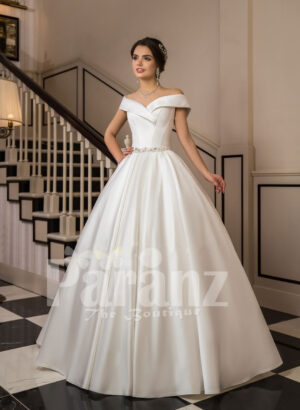Women's beautiful off-shoulder floor length rich satin gown with tulle skirt underneath