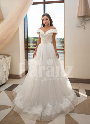 Women's beautiful off-shoulder styled floor length tulle gown with glam bodice