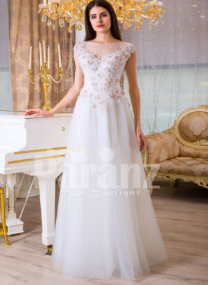 Women's beautiful white and pink rosette bodice elegant floor length tulle gown