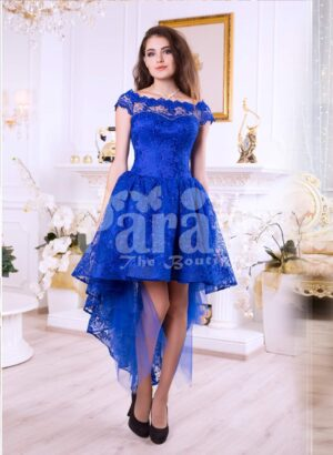 Women's bright blue high-low satin party gown with all over rich lace work