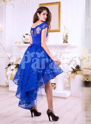 Women's bright blue high-low satin party gown with all over rich lace work side view