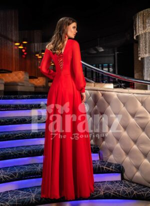 Women's bright red side slit evening satin gown with full sleeve bodice back side view
