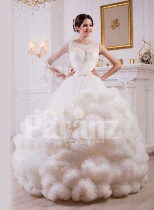 Women's cloud ruffle hem high volume tulle skirt wedding gown in white