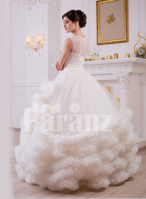 Women's cloud ruffle hem high volume tulle skirt wedding gown in white side view