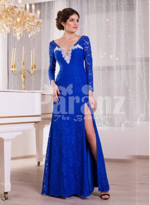 Women's deep v cut floor length side slit satin evening gown with all over blue lace work