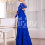Women's deep v cut floor length side slit satin evening gown with all over blue lace work side view