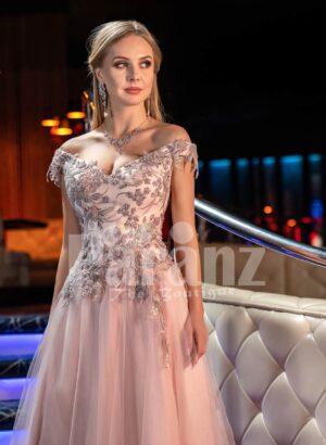 Women's deep v neckline floral appliquéd bodice evening gown with side slit pink tulle skirt