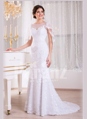 Women's dreamy sleeveless mermaid styled rich satin-sheer wedding gown with tulle skirt