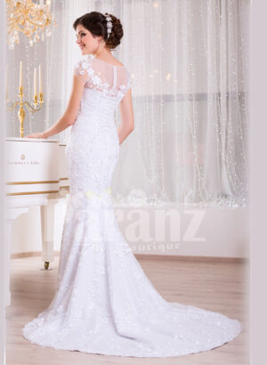 Women's dreamy sleeveless mermaid styled rich satin-sheer wedding gown with tulle skirt back side view