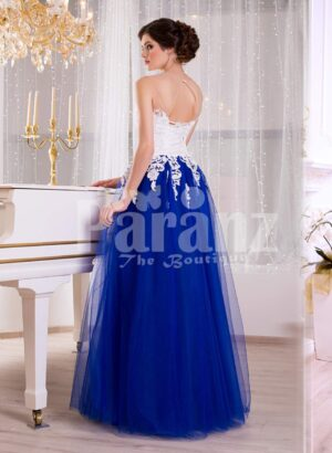 Women's elegant contrast evening gown with royal blue tulle skirt and satin white bodice side view