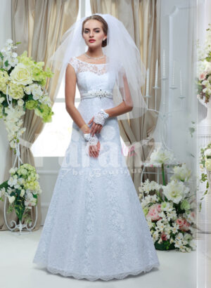Women's elegant floor length sleeveless white satin gown with all over white lace work