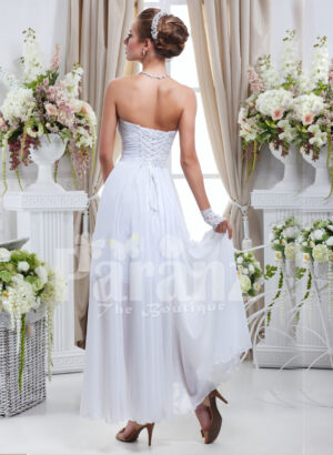 Women's elegant off-shoulder pearl white rich satin high low wedding dress back side view