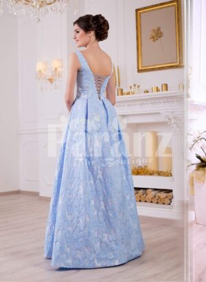 Women's elegant rich satin self-floral work floor length evening gown in sky blue back side view