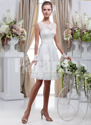 Women's elegant tea length rich satin wedding dress with rich rhinestone works