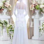 Women's elegant tulle skirt wedding gown with royal rhinestone studded off-shoulder bodice back side view