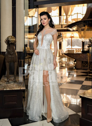Women's exciting off-shoulder side slit wedding tulle gown in glitz white