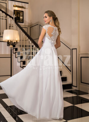 Women's exclusive floor length tulle wedding gown with royal lacy bodice back side view