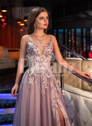 Women's exclusive mauve evening gown with royal appliquéd bodice and side slit tulle skirt