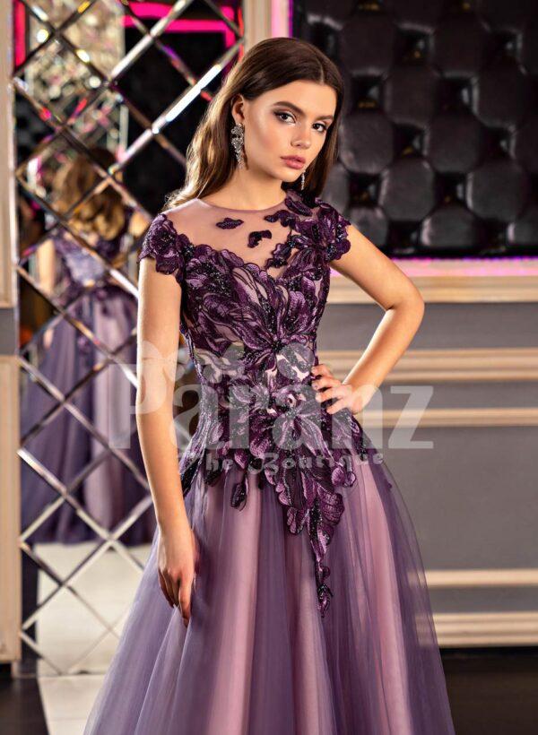 Women's fairy princess appliquéd bodice purple gown with floor length tulle skirt