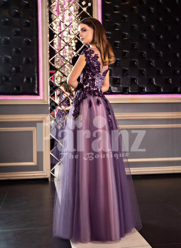 Women's fairy princess appliquéd bodice purple gown with floor length tulle skirt back side view