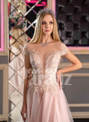Women's fairy princess style side slit satin-tulle evening gown in pink