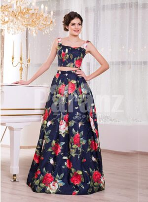 Women's fancy rich satin floor length blue gown with colorful floral prints all over