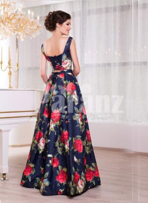 Women's fancy rich satin floor length blue gown with colorful floral prints all over side view