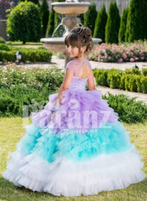 Women's floor length multi-color ruffle-tulle skirt baby gown with smooth satin-sheer bodice back side view