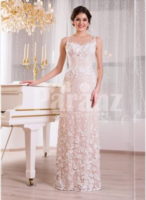 Women's floor length sleek tulle evening gown with all over white floral lace appliqués