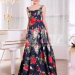 Women's floor length super stylish blue satin gown with rosette print all over