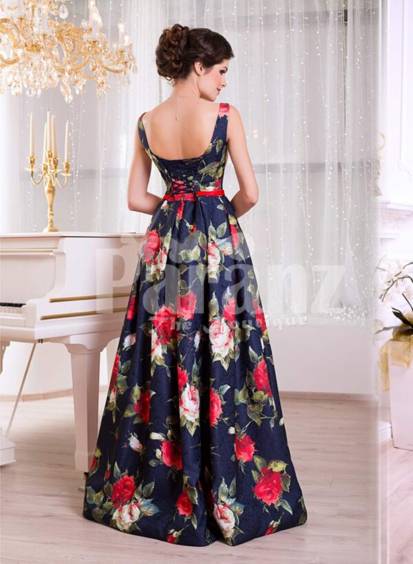 Women's floor length super stylish blue satin gown with rosette print all over back side view