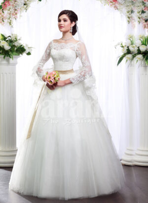 Women's full lacy sleeve floor length wedding tulle skirt gown with royal bodice