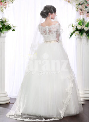 Women's full lacy sleeve floor length wedding tulle skirt gown with royal bodice BACK SIDE VIEW