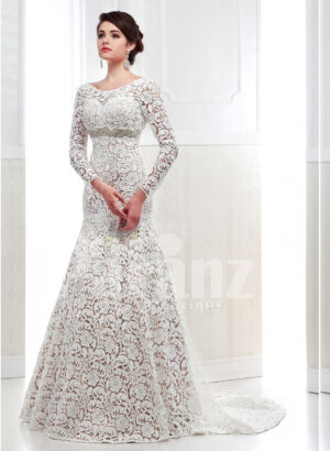 Women's full lacy sleeve mermaid style long trail satin-lace wedding gown