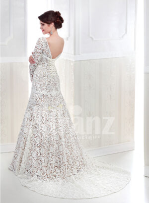 Women's full lacy sleeve mermaid style long trail satin-lace wedding gown back side view