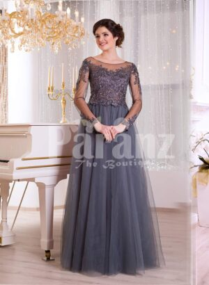 Women's full sheer sleeve evening party gown with flared and long tulle skirt in grey