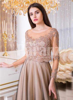 Women's full sheer sleeve floor length tulle skirt elegant evening gown