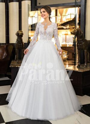 Women's full sleeve glam lacy bodice and tulle skirt floor length wedding gown