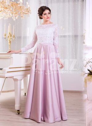 Women's full sleeve lace appliquéd bodice evening gown with sleek satin long skirt