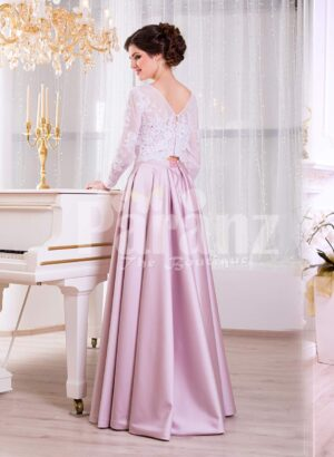 Women's full sleeve lace appliquéd bodice evening gown with sleek satin long skirt side veiw
