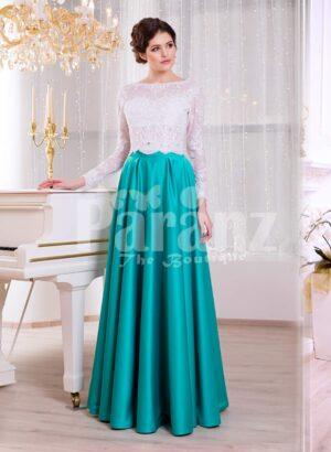 Women's full sleeve royal white bodice evening gown with metallic mint satin skirt