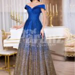 Women's high volume satin evening gown with tulle skirt underneath & off-shoulder bodice