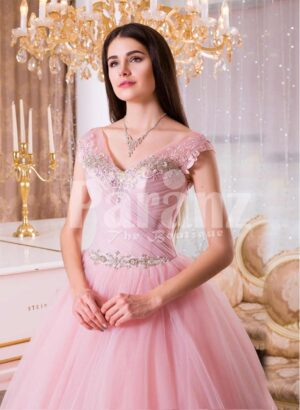 Women's high volume tulle skirt evening gown with lacy pink bodice