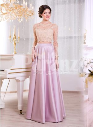 Women's lacy beige bodice evening gown with long metal mauve skirt