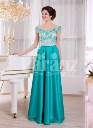 Women's metal mint long satin evening gown with floral appliquéd white bodice