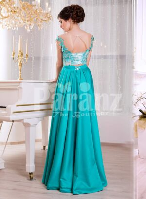 Women's metal mint long satin evening gown with floral appliquéd white bodice back side view