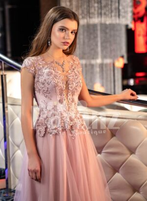 Women's metal pink side slit evening gown with floral rhinestone appliquéd royal bodice