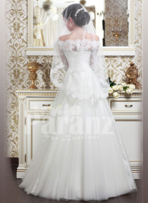 Women's off-shoulder elegant lacy bodice wedding gown with flared tulle skirt in white back side view